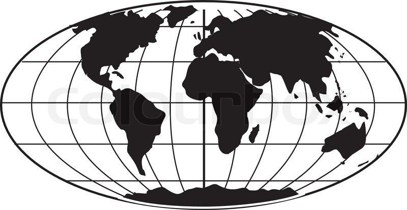 Vintage Globe Line Drawing : Simple b w earth globe stock vector colourbox