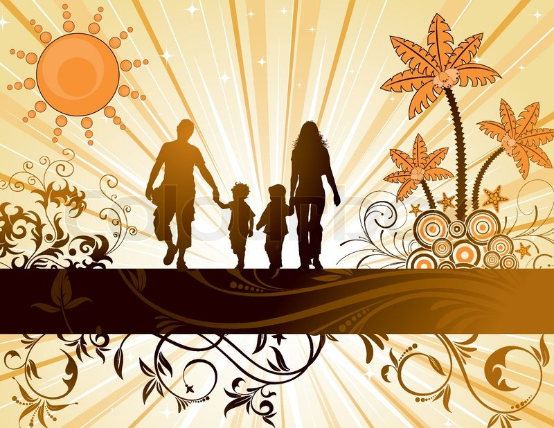 Summer background with family silhouettes palm tree and - Family tree desktop wallpaper ...