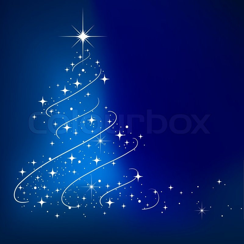 blue vector abstract winter background with stars christmas tree stock vector colourbox - Christmas Tree Blue