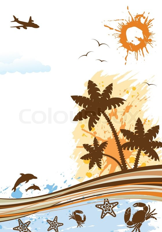 Summer frame with palm tree, dolphin, crab, starfish, vector ...