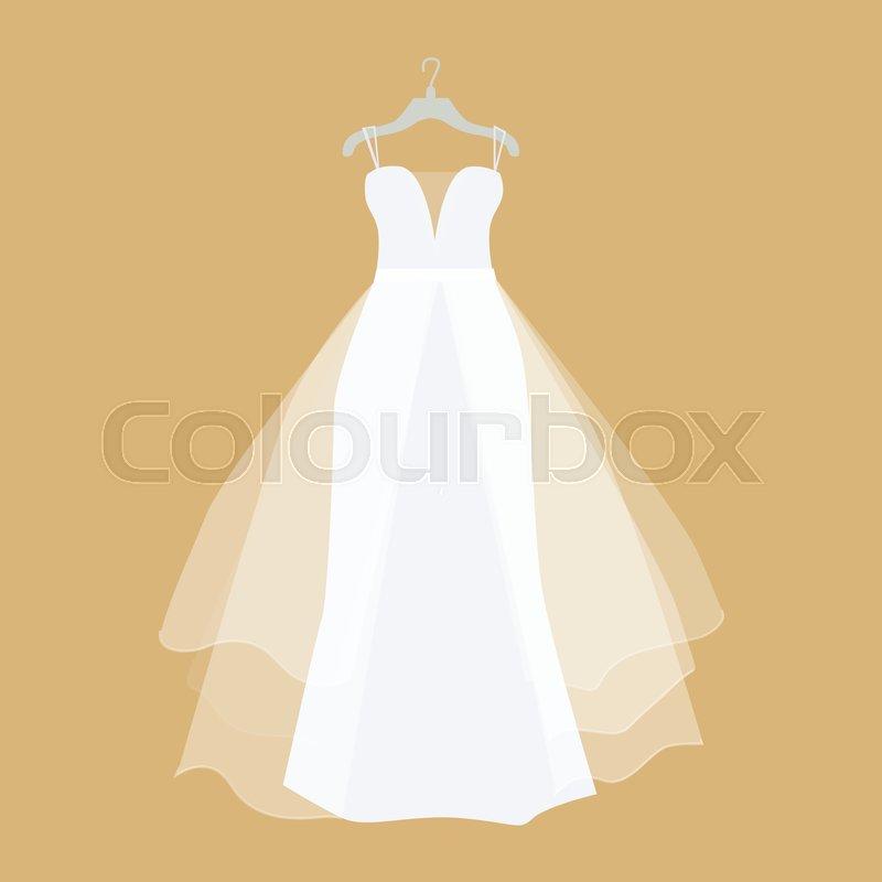 Wedding Dress Vector. Flat Design. ...
