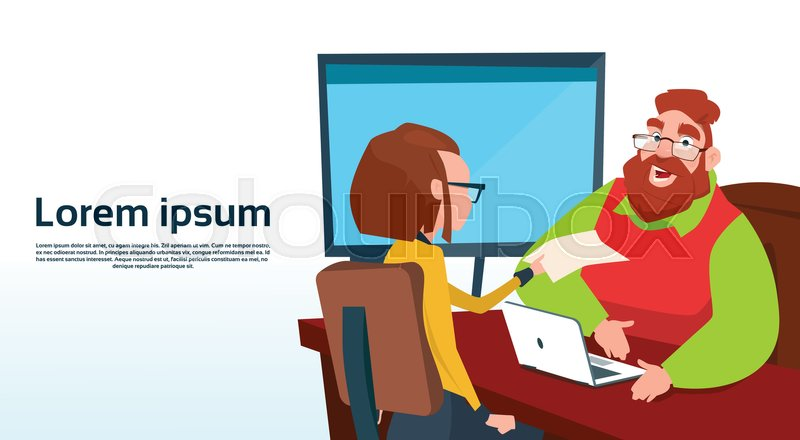 Businessman Sitting Office Desk Businesswoman Apply Job Interview Business People Candidate Flat Vector Illlustration, vector