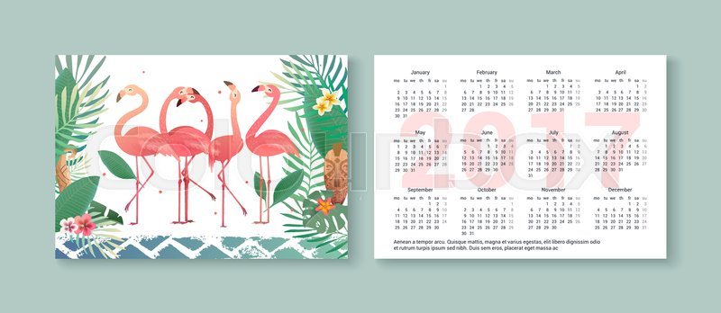Tropical Pocket Calendar 2017 With Flamingos Palm Trees Flowers