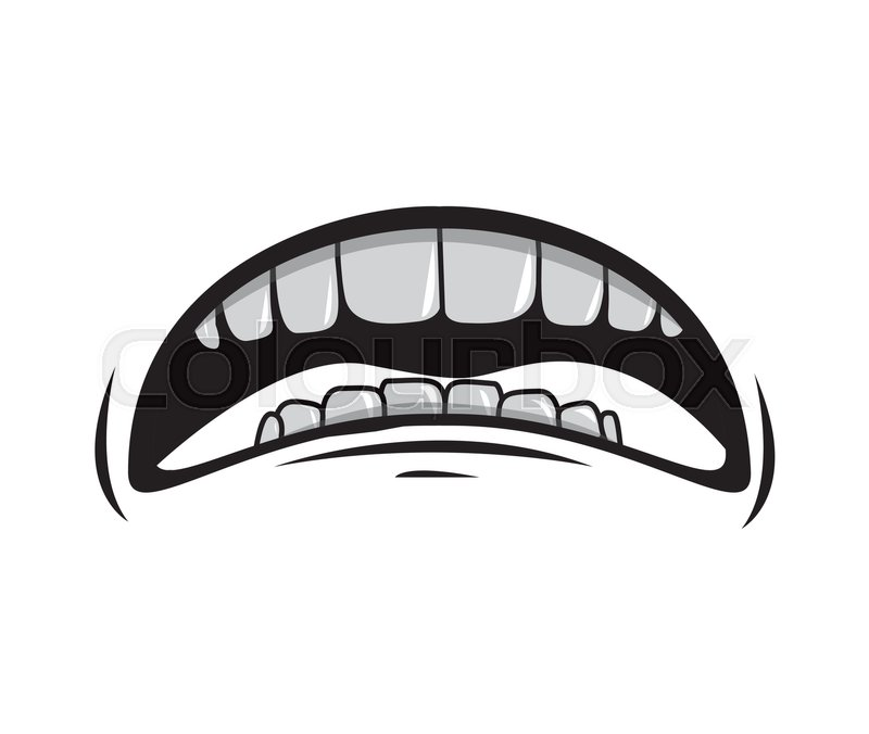 Silhouette Of Cartoon Mouth With Teeths With Sad