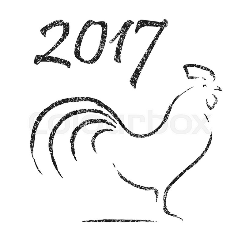 Hand Drawn Rooster Symbol Or Icon Grunge Effect Chinese Calendar