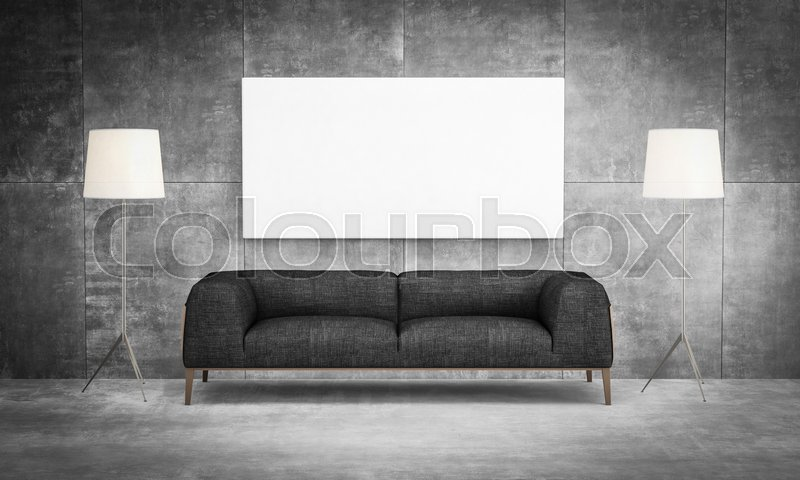 Creative Front View Mock Up : Liveing Room Sofa With Painting Canvas On The  Wall Loft Style | Stock Photo | Colourbox