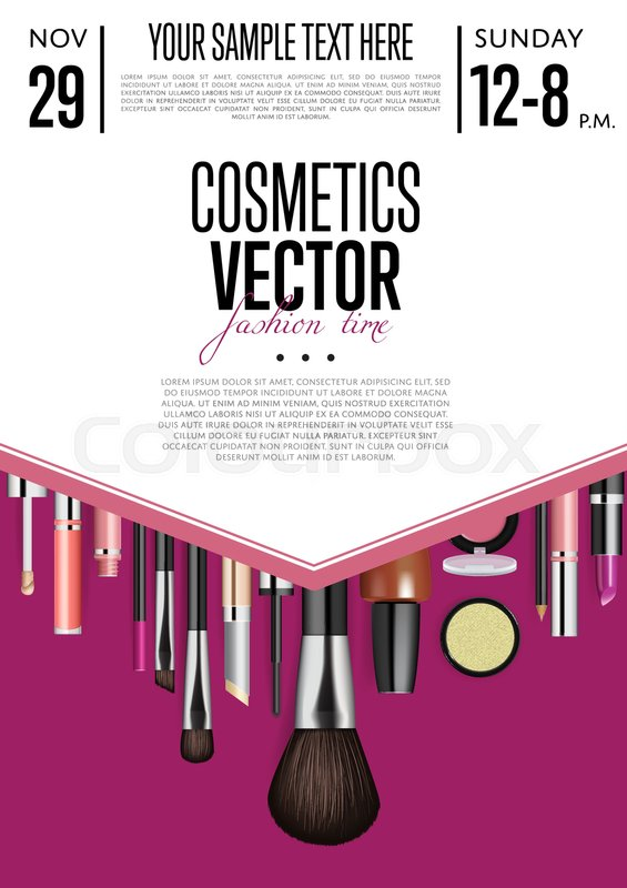 cosmetics product presentation poster  makeup accessories