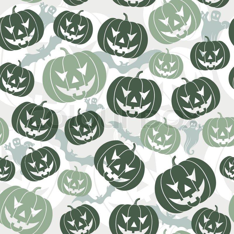 Halloween seamless background with bats, ghost & pumpkin, vector ...