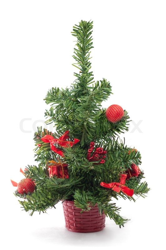 a small decorated christmas tree on white background stock photo colourbox