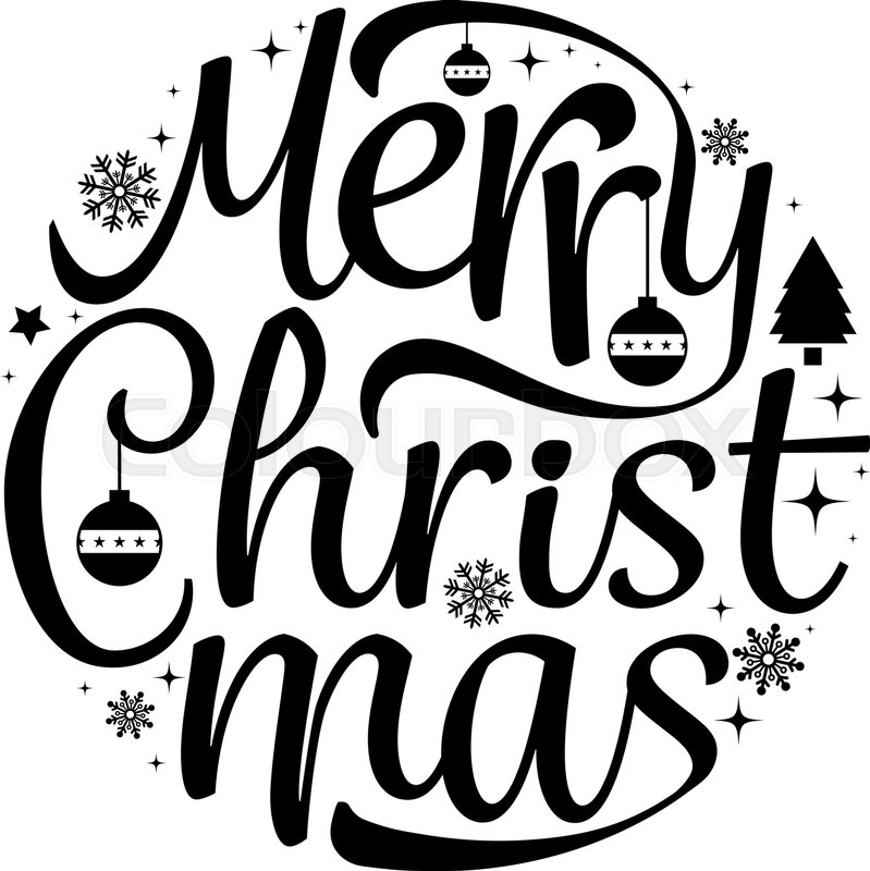 Merry Christmas Images Black And White.Merry Christmas Text Free Hand Design Stock Vector