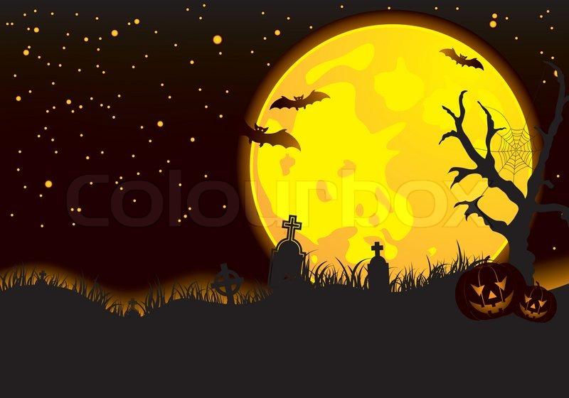 halloween background with bat pumpkin element for design vector illustration - Design Halloween