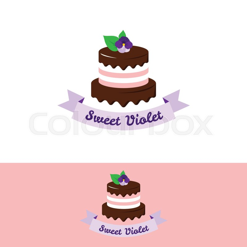 Vector cute pink cake logo with chocolate and violet flower on the