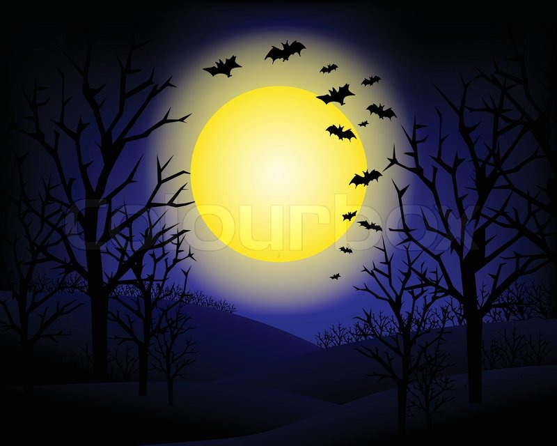 Halloween Invitation Or Background And Bats