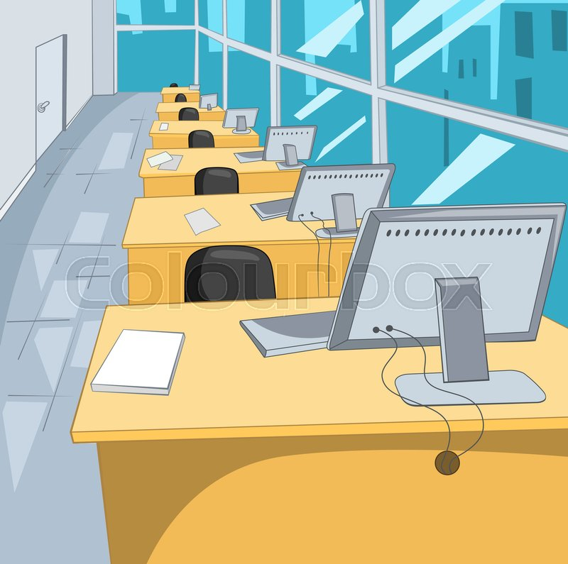Hand Drawn Cartoon Of Business Office Stock Image Colourbox