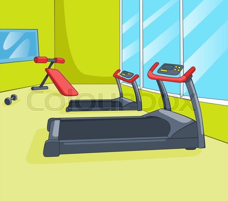 Hand Drawn Cartoon Of Gym Room Background