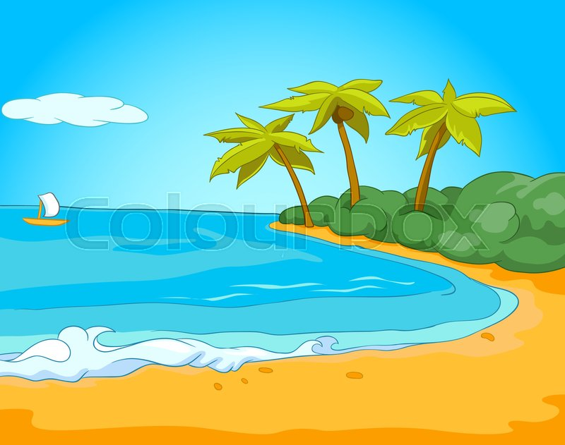 Background Of Beach Resort Colourful Cartoon Seafront Summer Exotic Sandy With Palm Trees Sea And Sailboat