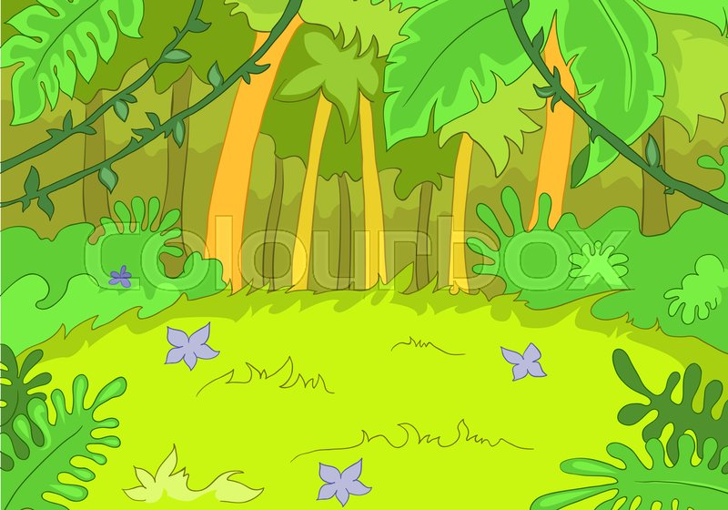 Hand drawn cartoon of summer landscape. Colourful cartoon ...