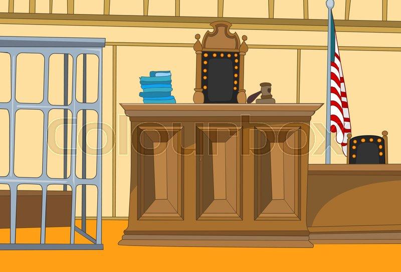 Hand drawn cartoon of court interior. Colourful cartoon of ...