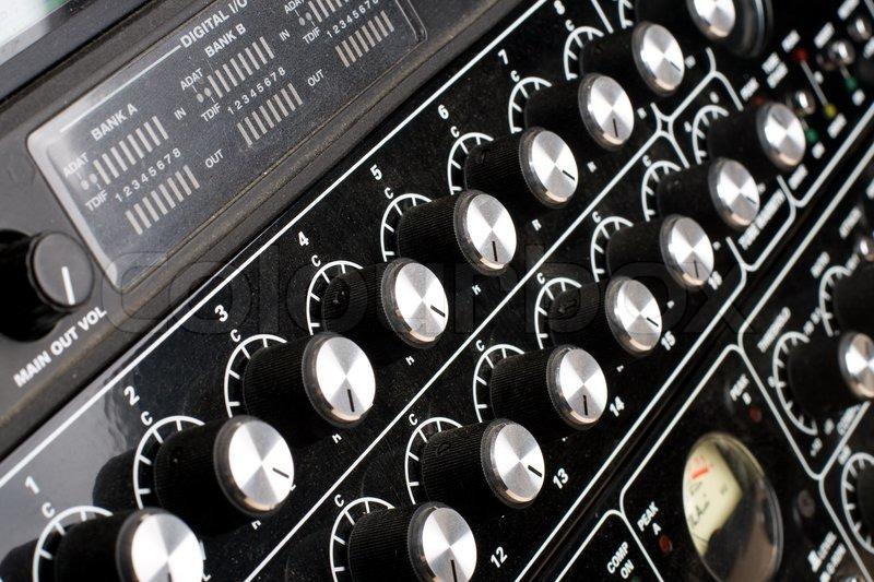 Sound mixer. dj\'s equipment. Professional studio equipment, stock photo