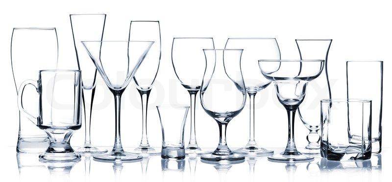 Cocktail Gläser glas serie alle cocktail gläser isoliert auf weiß stockfoto