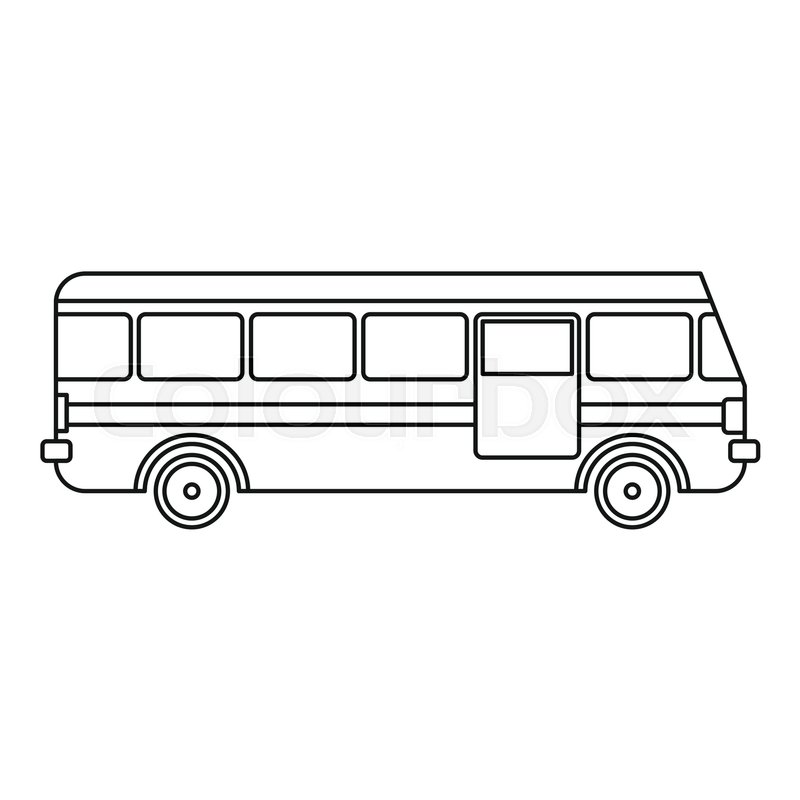 Bus icon. Outline illustration of bus vector icon for web ...