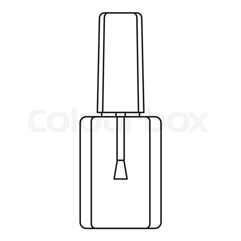 Bottle Of Nail Polish With Brush Icon. Outline