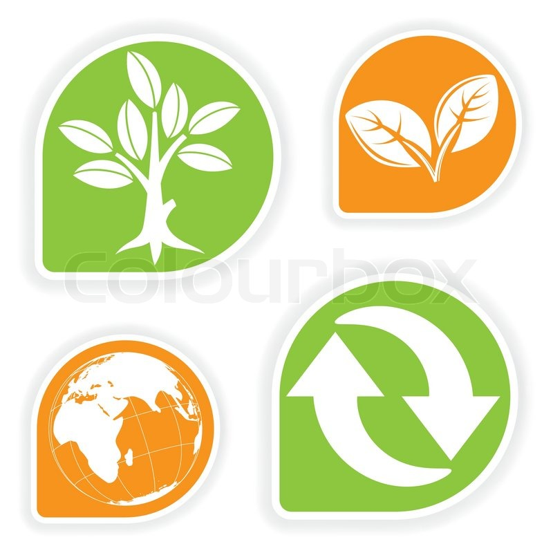 Collect Sticker With Environment Icon Tree Leaf Earth And