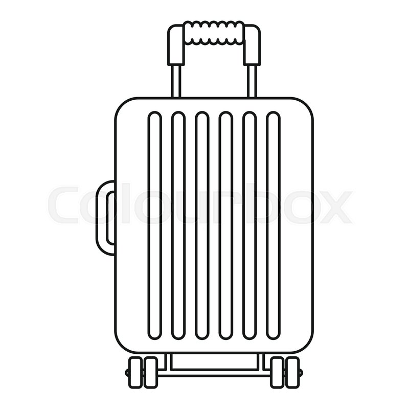Suitcase on wheels icon. Outline