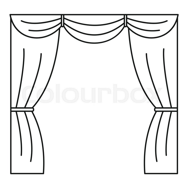 Curtain On Stage Icon Outline Illustration Of Vector For Web