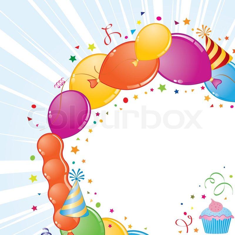 Geburtstag Rahmen mit Ballon, Streamer und Party -Hut, Element für ...