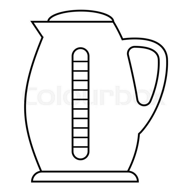 plastic electric kettle icon  outline illustration of