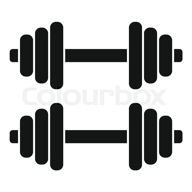 Dumbbell Icon Vector Two dumbbells icon. Si...
