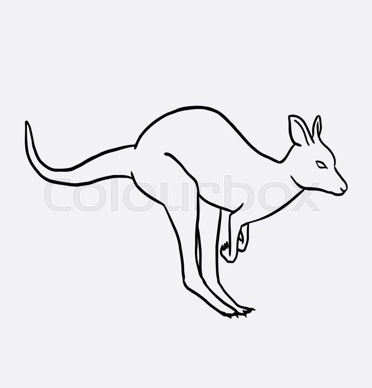 Line Drawing Kangaroo : Kangaroo wild animal good use for symbol logo web icon