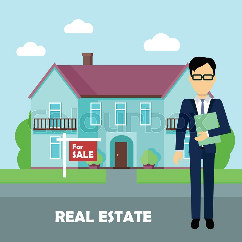 Realestate For Rent: Real Estate Broker At Work. Real Estate Agent, House