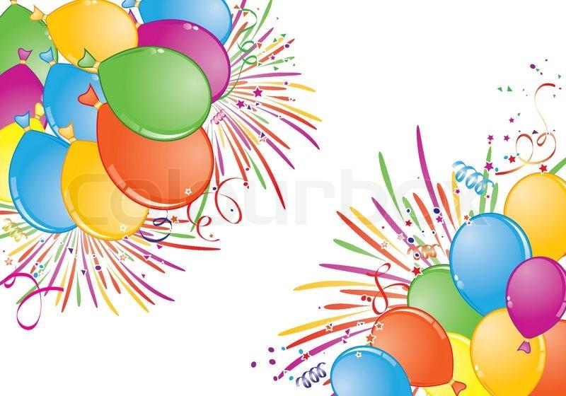 Geburtstag Rahmen Mit Ballon Feuerwerk Und Streamer Element Fur