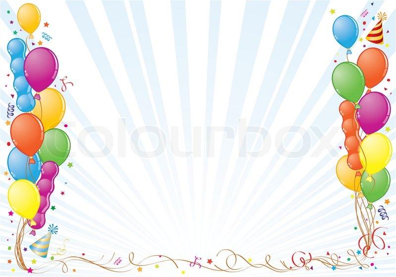 geburtstag rahmen mit ballon streamer und party hut element f r design vektor illustration. Black Bedroom Furniture Sets. Home Design Ideas