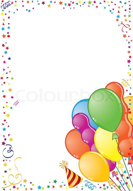 Geburtstag Rahmen Mit Ballon Streamer Und Party Hut