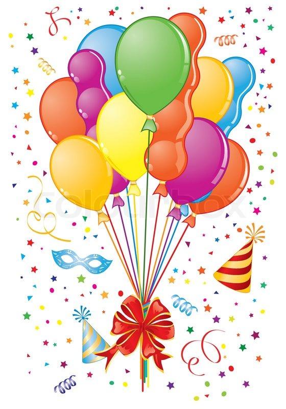 Party Time Thema mit Ballon , Streamer , Bogen, Karnevals -Maske und Hut , Element für Design ...
