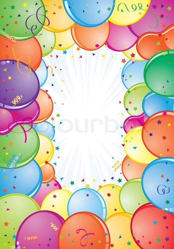 Geburtstag Rahmen Mit Ballon Streamer Und Konfetti Element Fur