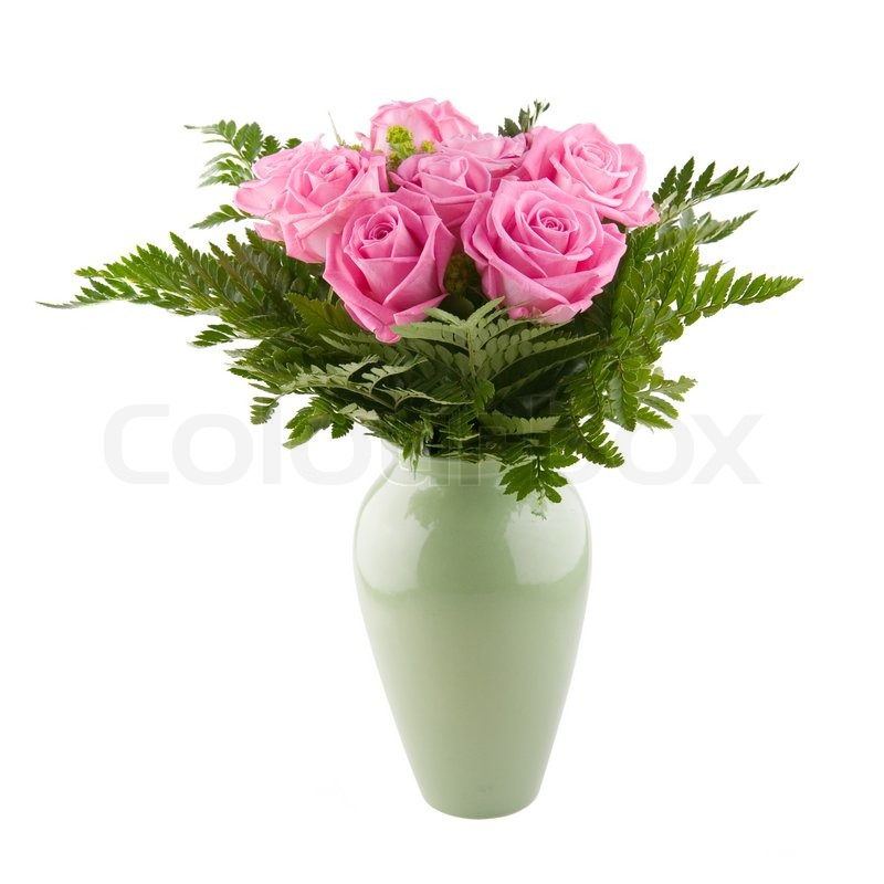 Arrangement Of Pink Roses In A Vase Stock Photo Colourbox