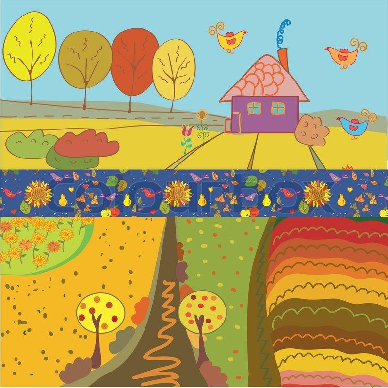 Autumn Banners Cartoon Stock Vector Colourbox