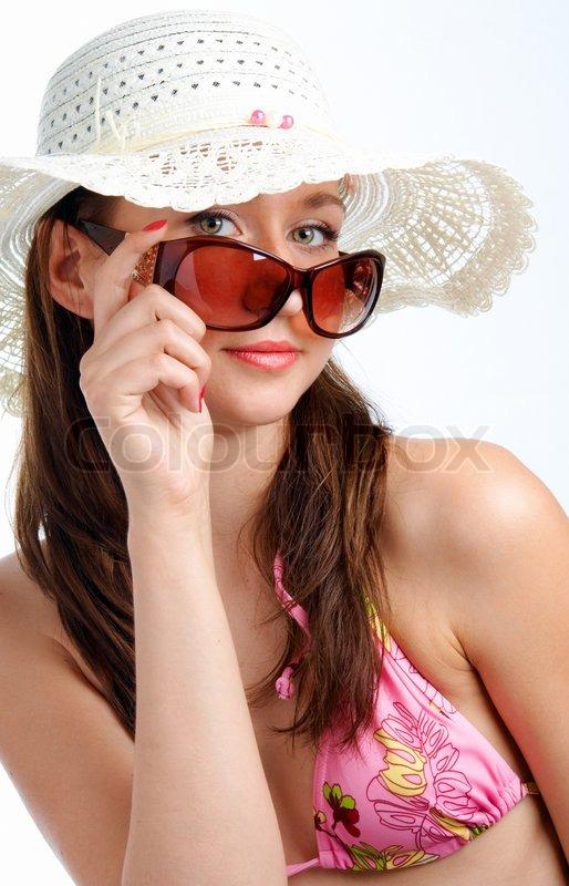 4d1ccff420ae Stock foto af  Kvinde i solbriller i hat