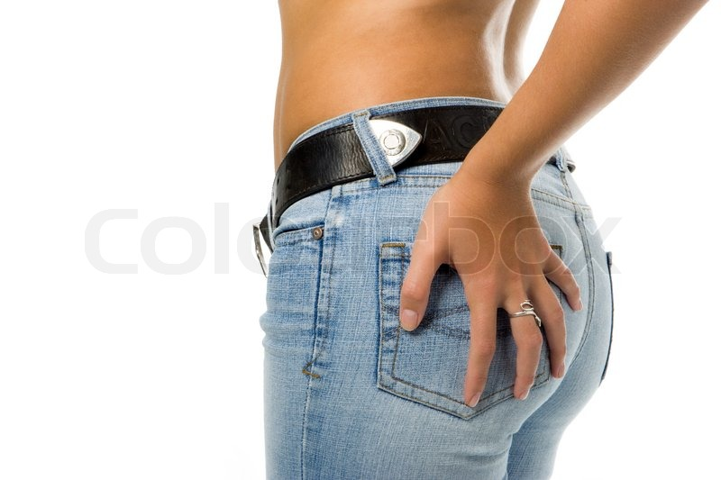 Stock image of 'Lady in blue jeans with belt isolated over white background'