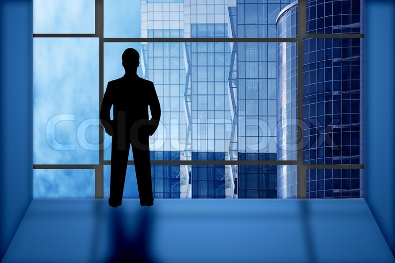 Silhouette Businessman Look Office Window On Business Buildings | Stock  Photo | Colourbox