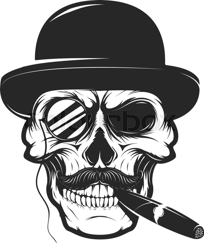Skull in hat with cigar and monocle. Design element for ...