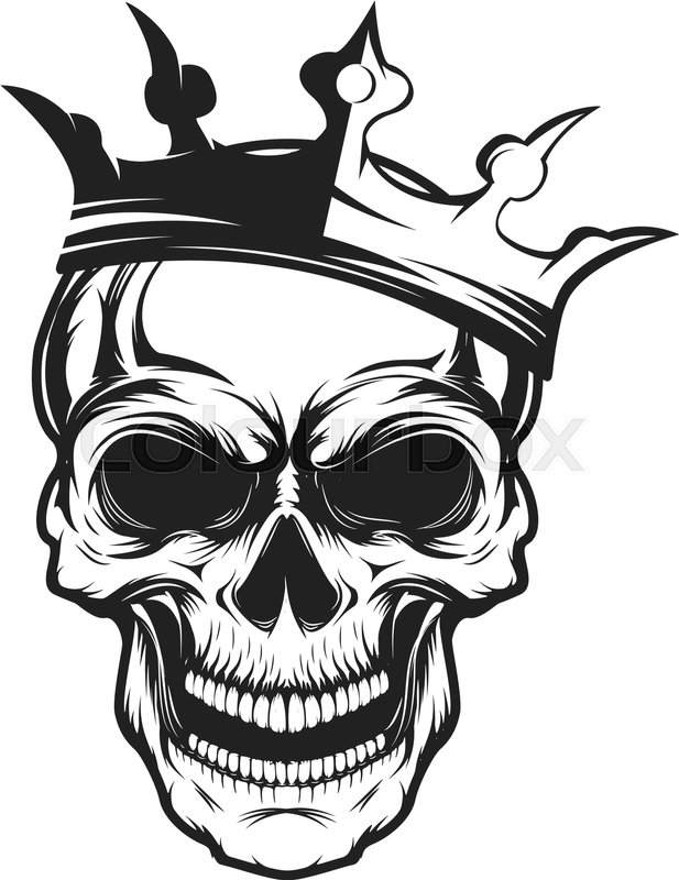 skull with crown design element for emblem badge sign