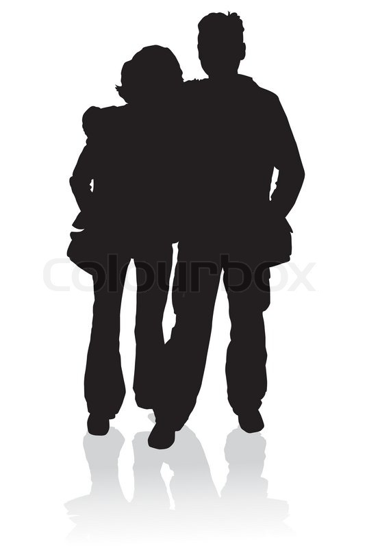 Silhouette Happy Young Family Illustration Stock Vector