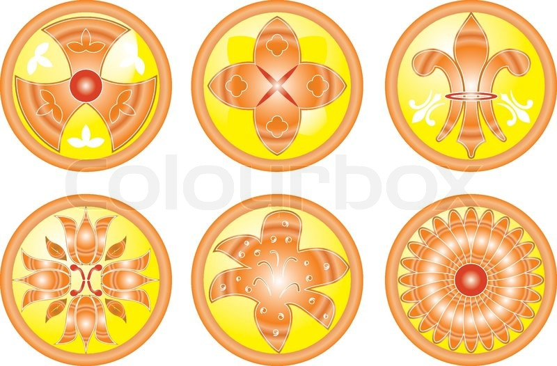 Abstract Flower Icons Stock Vector: Icon Set Flower, Abstract Icons ...