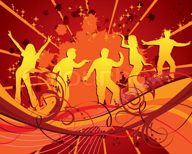 Dancing Silhouettes On Grunge Background Vector