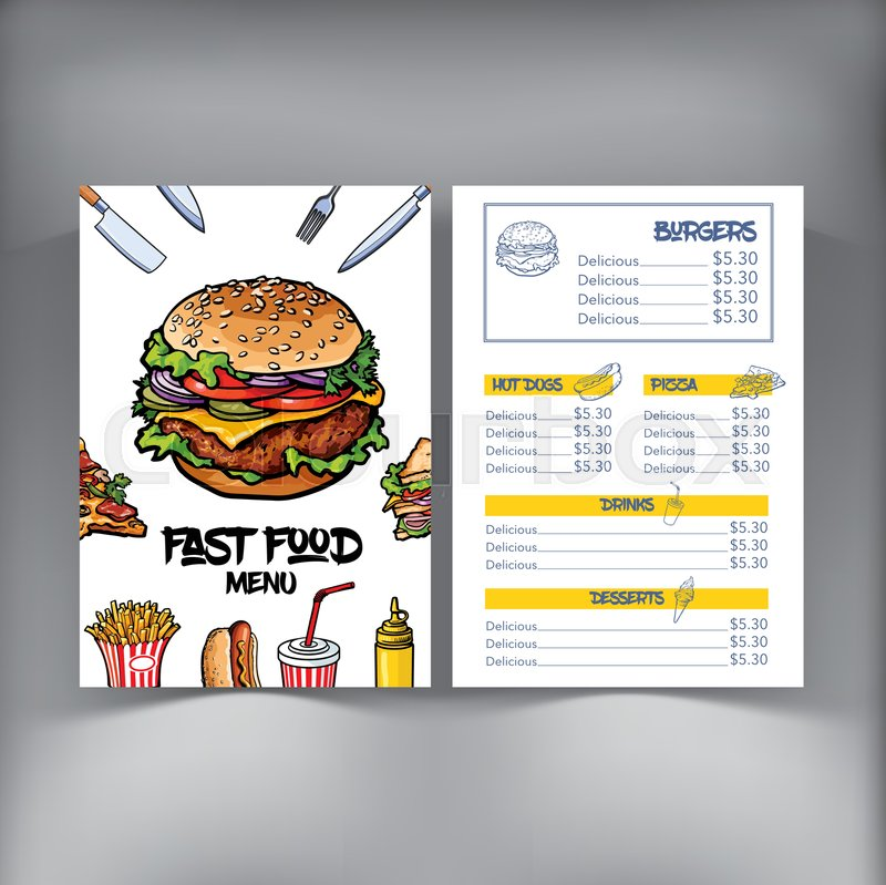 sandwich shop menu template - sketch style hand drawn fast food cafe or restaurant menu